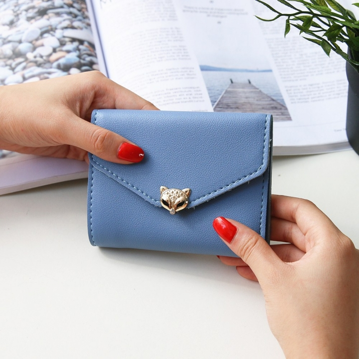 The New wallet Simple fashion Three fold soft skin Ms student Wallet Buckle Small fresh Wallet sky blue one size