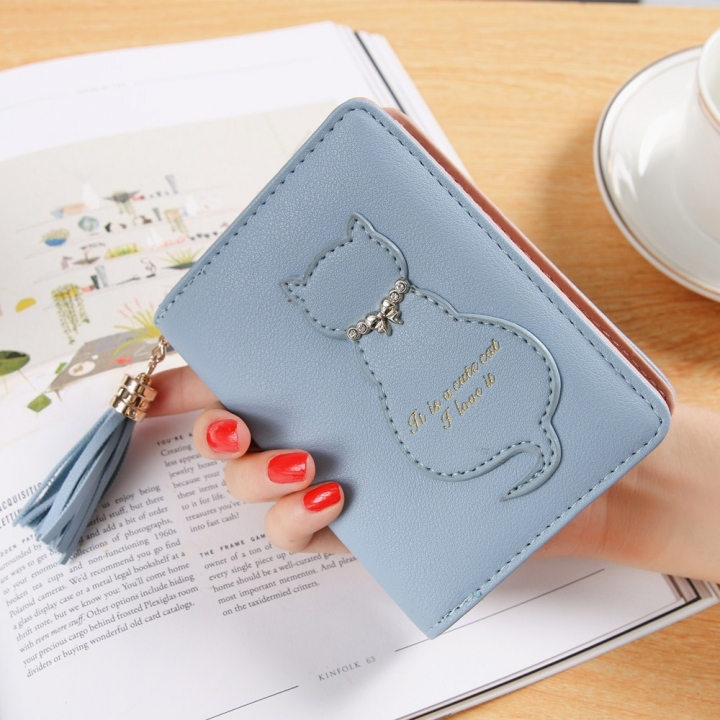 The New Kitten Small Wallet Female Fashion Short Section Tassel Zipper Student Wallet sky blue one size