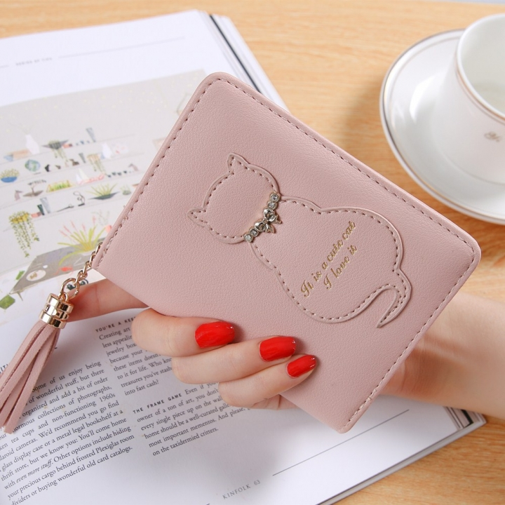 The New Kitten Small Wallet Female Fashion Short Section Tassel Zipper Student Wallet ligth pink one size