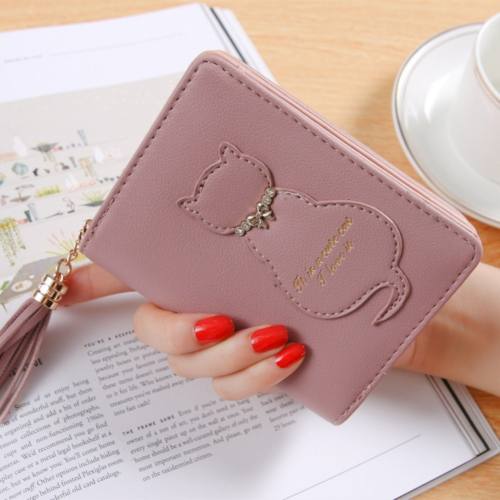 The New Kitten Small Wallet Female Fashion Short Section Tassel Zipper Student Wallet pink one size