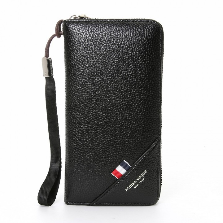 Men Soft Long Section Zipper Wallet Hand Bag Mobile Phone Card Pack Business PU High Capacity Wallet black one size