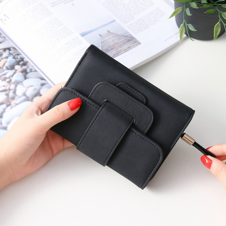 Short Section Hand Bag Ms Wallet Simple Card Pack Small Fresh Fashion Three Fold Coin PurseV black one size