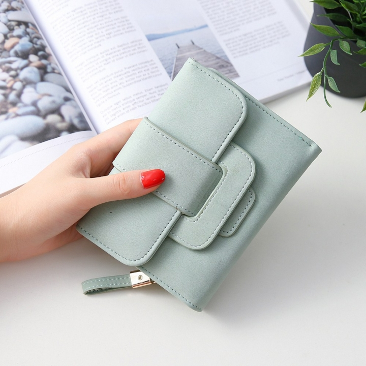 Short Section Hand Bag Ms Wallet Simple Card Pack Small Fresh Fashion Three Fold Coin PurseV ligth green one size
