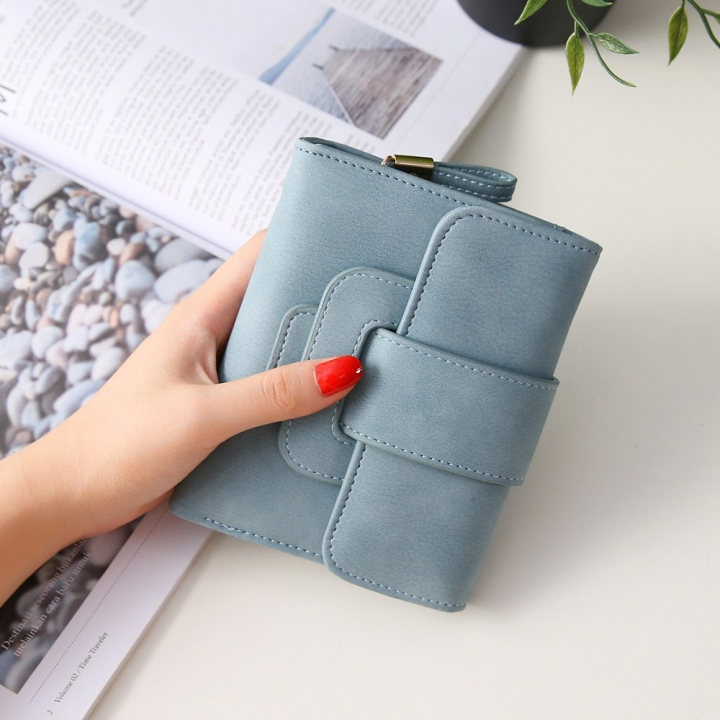 Short Section Hand Bag Ms Wallet Simple Card Pack Small Fresh Fashion Three Fold Coin PurseV Lake Blue one size
