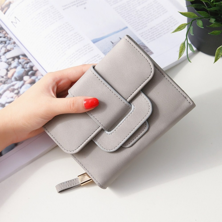 Short Section Hand Bag Ms Wallet Simple Card Pack Small Fresh Fashion Three Fold Coin PurseV gray one size