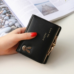Ms Short section  Simple Bunny Buckle Three fold Female student Coin Purse Wallet wallet black one size