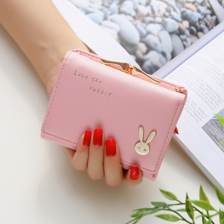 Ms Short section  Simple Bunny Buckle Three fold Female student Coin Purse Wallet wallet ligth pink one size
