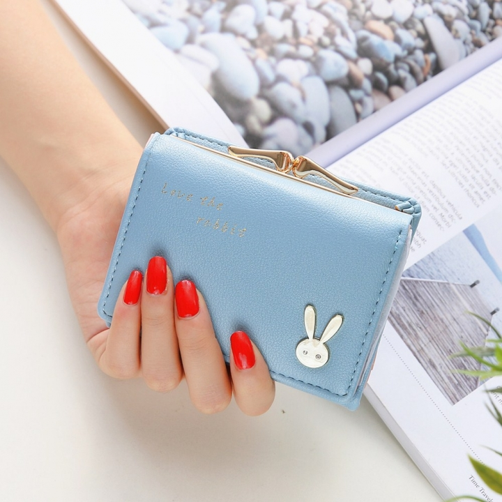 Ms Short section Simple Bunny Buckle Three fold Female student Coin Purse Wallet wallet sky blue one size