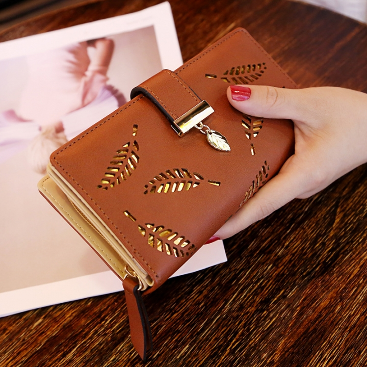 Ms Wallet Long Section Fashion Hand Bag Hollow Leaves Zipper Buckle Wallet Card Pack coffee one size
