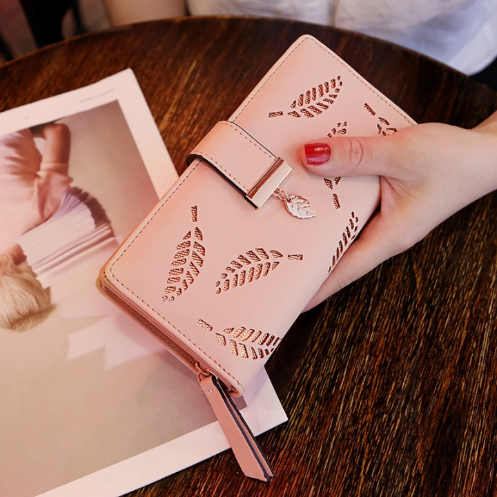 Ms Wallet Long Section Fashion Hand Bag Hollow Leaves Zipper Buckle Wallet Card Pack pink one size