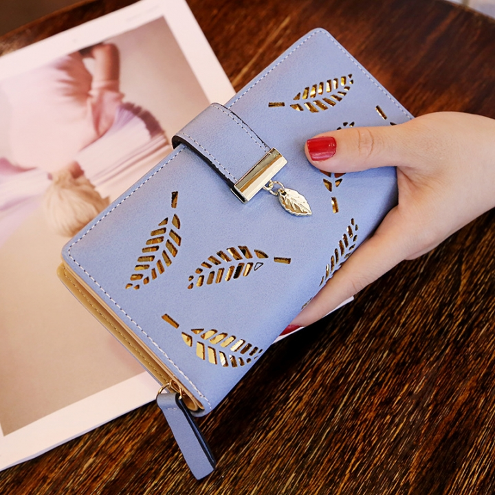Ms Wallet Long Section Fashion Hand Bag Hollow Leaves Zipper Buckle Wallet Card Pack blue one size