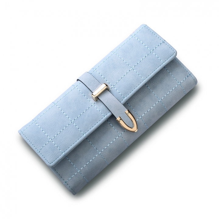 Western Style Retro Scrub Three Fold Wallet Spiraea Ms Wallet Coin Purse ligth blue one size