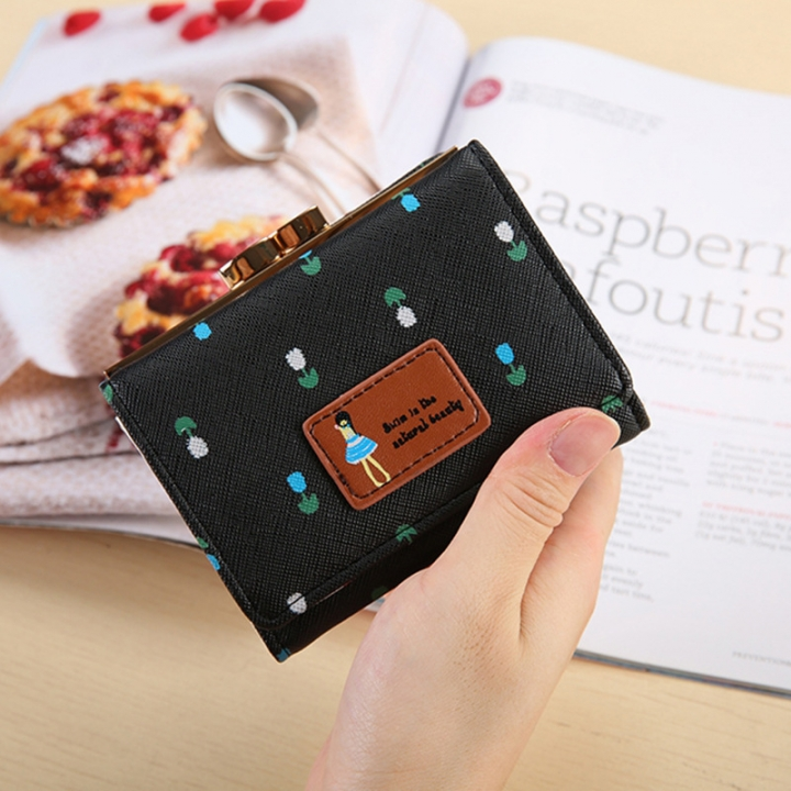 Fold Ms Wallet Short Section Three Fold Lovely Girl Student Wallet Fashion Coin Purse black one size