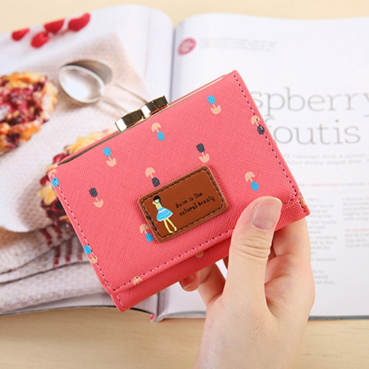 Fold Ms Wallet Short Section Three Fold Lovely Girl Student Wallet Fashion Coin Purse watermelon red one size