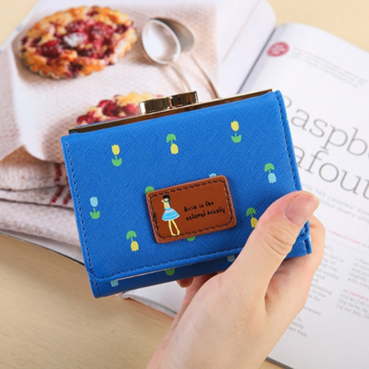 Fold Ms Wallet Short Section Three Fold Lovely Girl Student Wallet Fashion Coin Purse blue one size