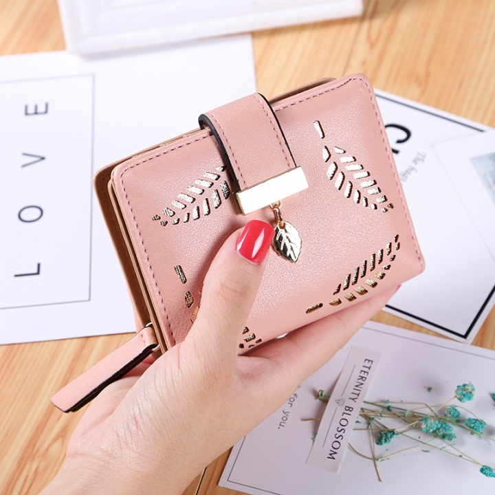 Short Section Wallet Ms Zipper Buckle Hollow Leaves Small Wallet Wallet Card Pack pink one size