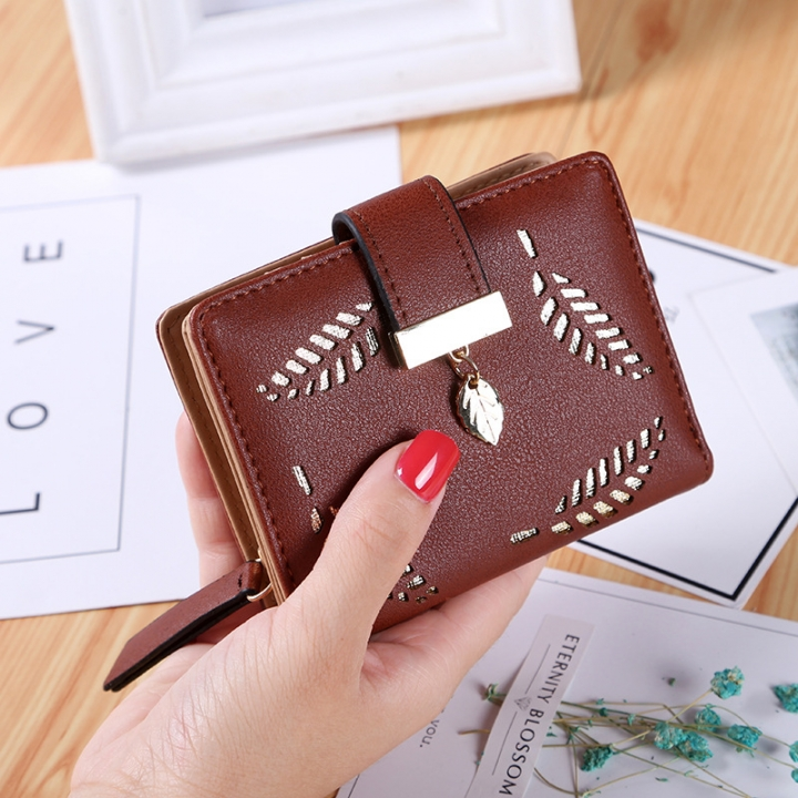 Short Section Wallet Ms Zipper Buckle Hollow Leaves Small Wallet Wallet Card Pack brown one size