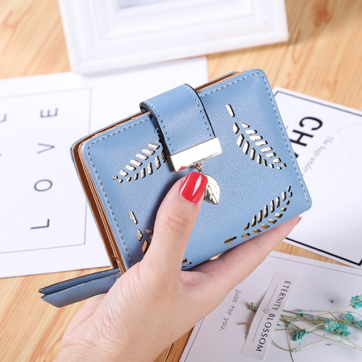 Short Section Wallet Ms Zipper Buckle Hollow Leaves Small Wallet Wallet Card Pack sky blue one size