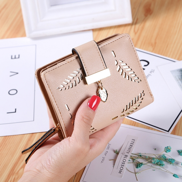 Short Section Wallet Ms Zipper Buckle Hollow Leaves Small Wallet Wallet Card Pack khaki one size