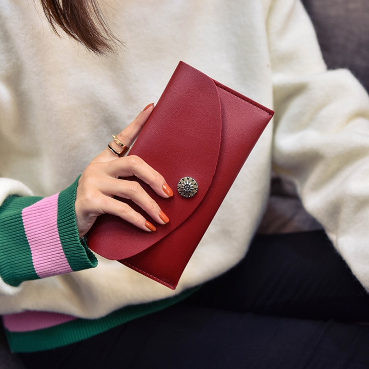 Simple Thin Section Solid Color Soft Cover Buckle Ms Long Section Wallet Retro Flowers Twists Wallet red one size