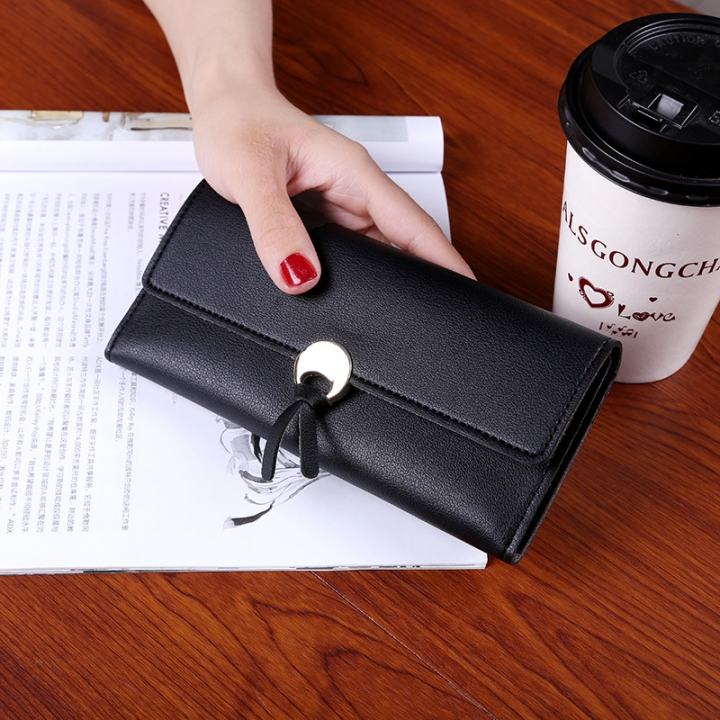 Student Simple Small Fresh Ultra Thin Western Style Coin Purse Multifunction Three Fold Wallet black one size