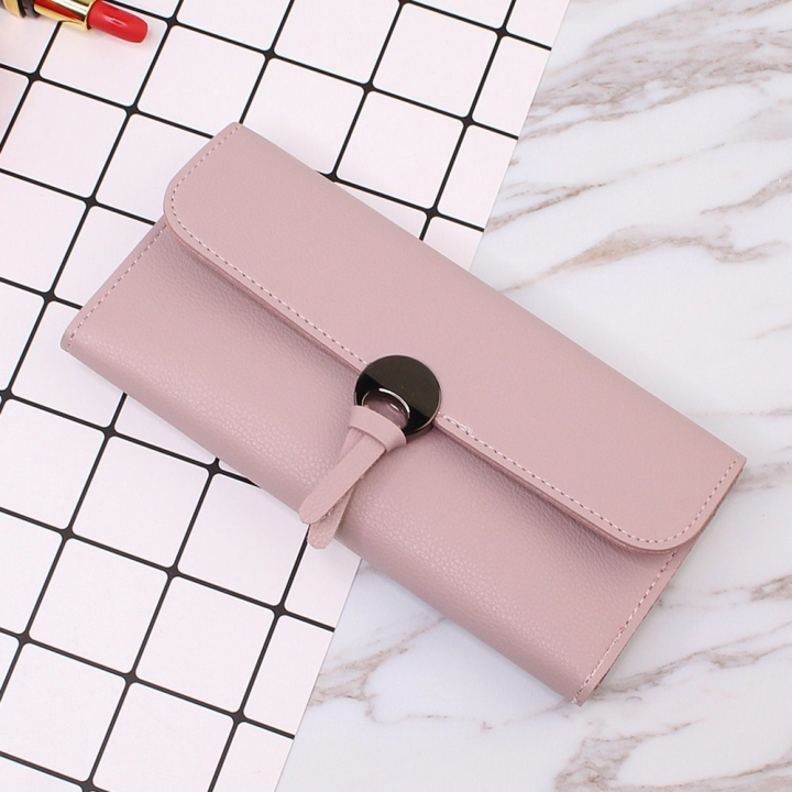 Student Simple Small Fresh Ultra Thin Western Style Coin Purse Multifunction Three Fold Wallet pink one size