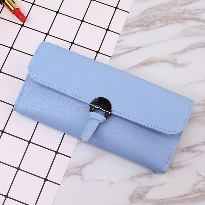 Student Simple Small Fresh Ultra Thin Western Style Coin Purse Multifunction Three Fold Wallet sky blue one size