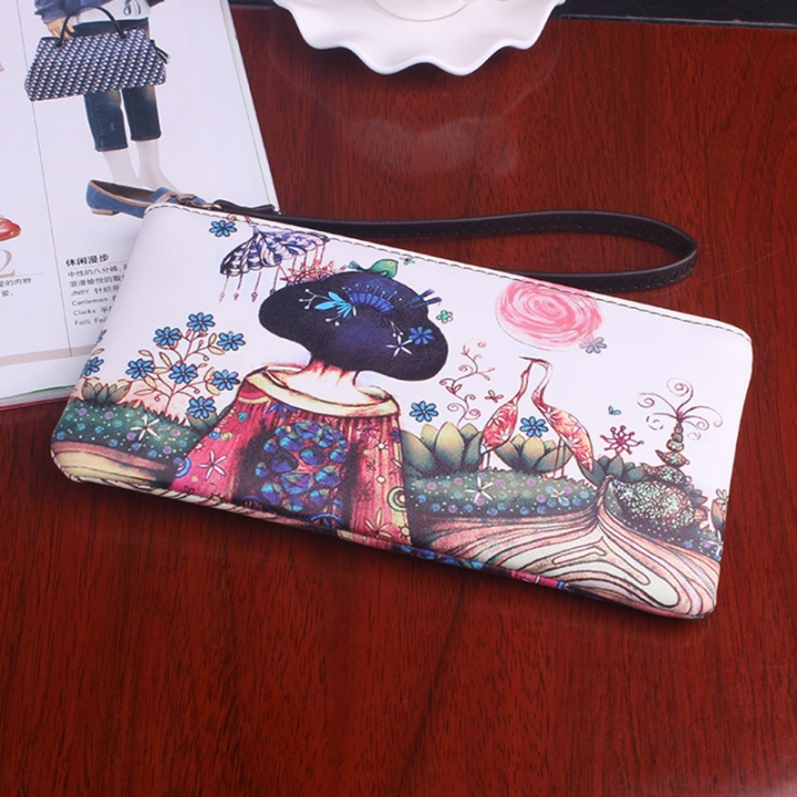 The New Graffiti Lovely Zipper High Capacity Mobile Phone Bag Hand Bag Long Section Ms Wallet 6 one size