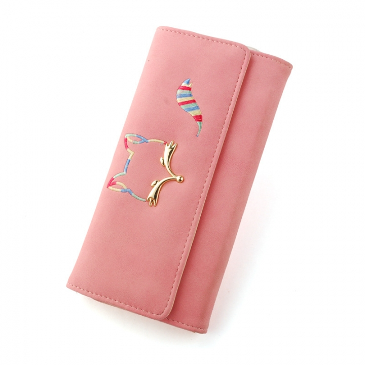 The New Ms Long Section Wallet Fox Super Soft Scrub Three Fold Small Fresh Hand Bag Wallet pink one size