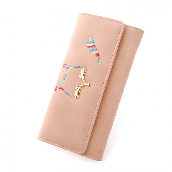 The New Ms Long Section Wallet Fox Super Soft Scrub Three Fold Small Fresh Hand Bag Wallet ligth pink one size
