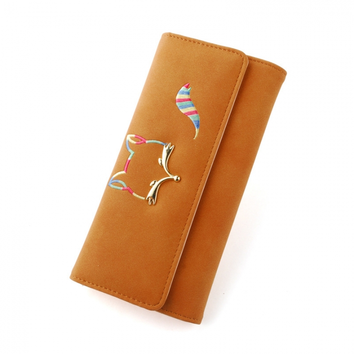 The New Ms Long Section Wallet Fox Super Soft Scrub Three Fold Small Fresh Hand Bag Wallet brown one size