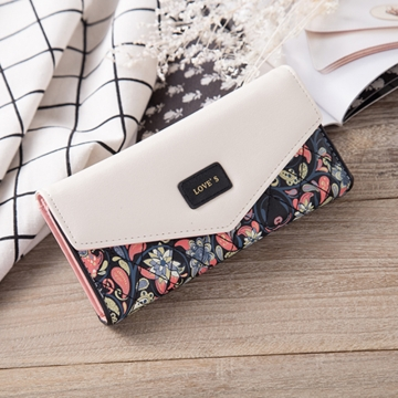 Rural Small Floral Lingge Buckle Ms Fashion Wallet Three Fold Lady Bags Hand Bag Wallet black one size