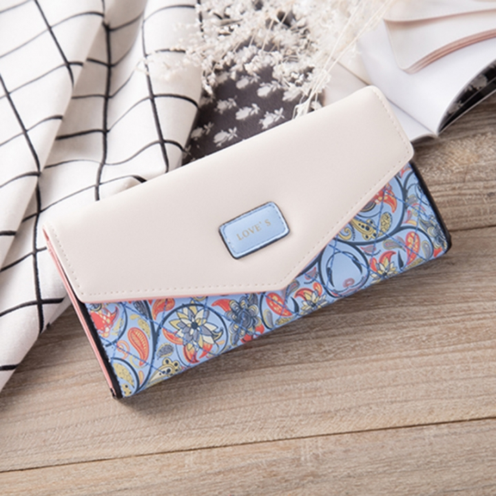 Rural Small Floral Lingge Buckle Ms Fashion Wallet Three Fold Lady Bags Hand Bag Wallet blue one size