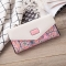 Rural Small Floral Lingge Buckle Ms Fashion Wallet Three Fold Lady Bags Hand Bag Wallet pink red one size