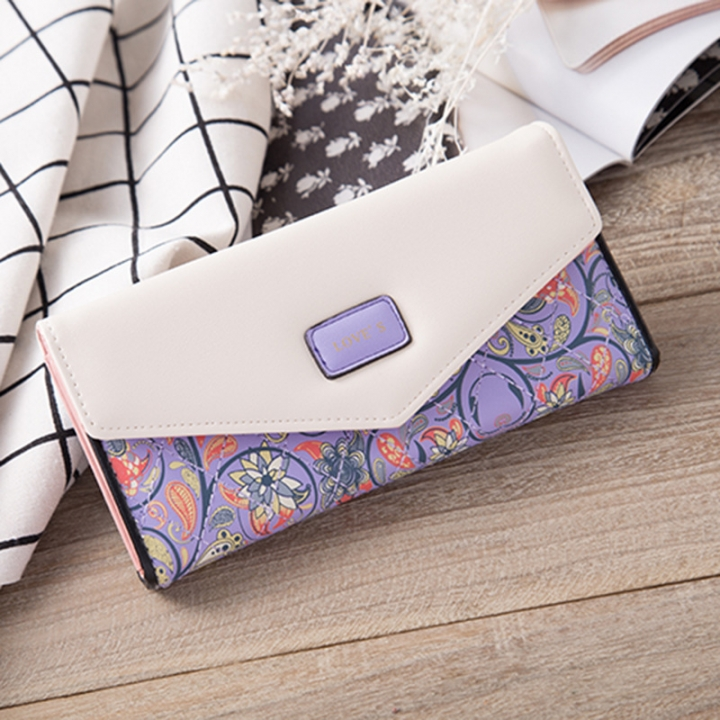 Rural Small Floral Lingge Buckle Ms Fashion Wallet Three Fold Lady Bags Hand Bag Wallet purple one size