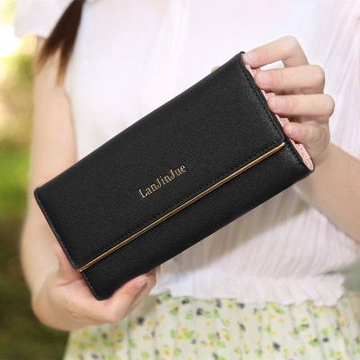 The New Ms Wallet Long Section Wallet High Capacity  Retro Female Three Fold Wallet Hand Bag black one size
