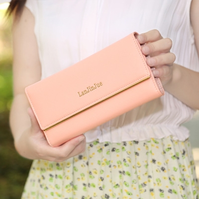 The New Ms Wallet Long Section Wallet High Capacity  Retro Female Three Fold Wallet Hand Bag pink one size