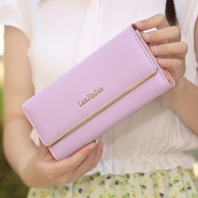 The New Ms Wallet Long Section Wallet High Capacity  Retro Female Three Fold Wallet Hand Bag ligth purple one size