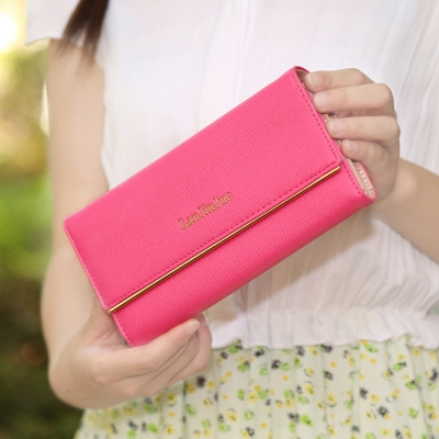 The New Ms Wallet Long Section Wallet High Capacity  Retro Female Three Fold Wallet Hand Bag rose red one size