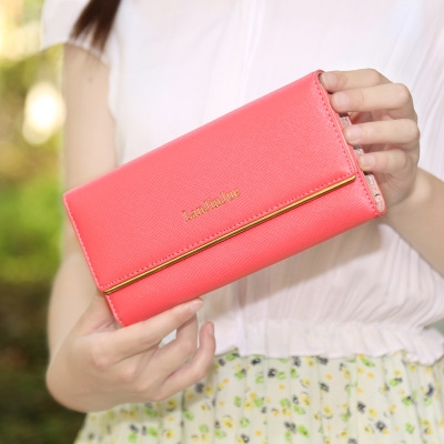 The New Ms Wallet Long Section Wallet High Capacity  Retro Female Three Fold Wallet Hand Bag ligth red one size
