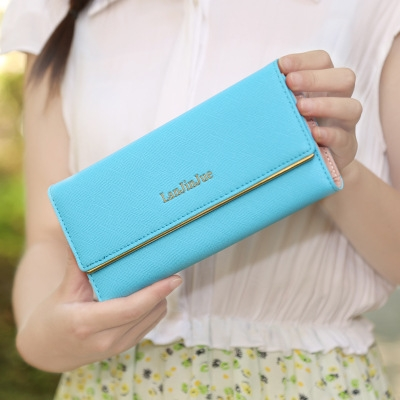 The New Ms Wallet Long Section Wallet High Capacity  Retro Female Three Fold Wallet Hand Bag sky blue one size