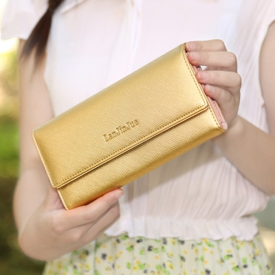 The New Ms Wallet Long Section Wallet High Capacity  Retro Female Three Fold Wallet Hand Bag gold one size
