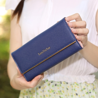 The New Ms Wallet Long Section Wallet High Capacity  Retro Female Three Fold Wallet Hand Bag Navy one size