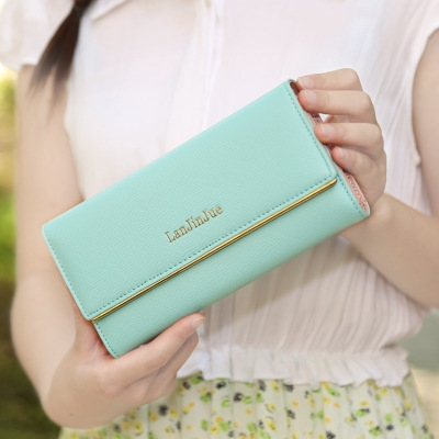 The New Ms Wallet Long Section Wallet High Capacity  Retro Female Three Fold Wallet Hand Bag Aqua green one size