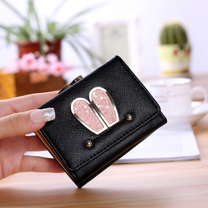 Ms Small Wallet Solid Color Three Fold Female Fashion Leisure Coin Purse Wallet Card Pack black one size