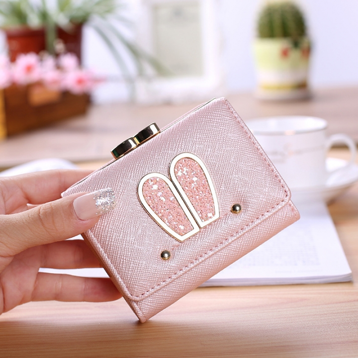 Ms Small Wallet Solid Color Three Fold Female Fashion Leisure Coin Purse Wallet Card Pack pink one size