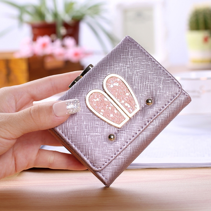 Ms Small Wallet Solid Color Three Fold Female Fashion Leisure Coin Purse Wallet Card Pack purple one size