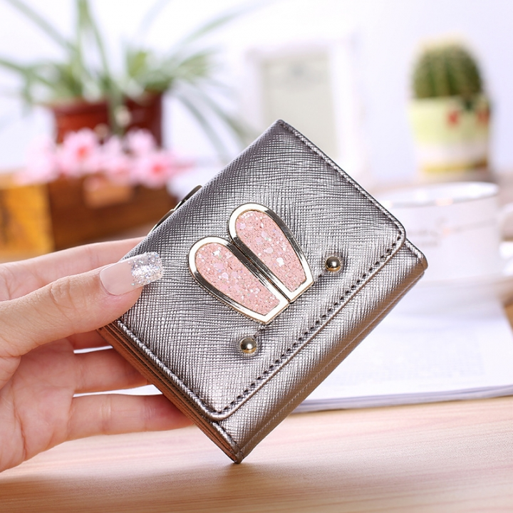 Ms Small Wallet Solid Color Three Fold Female Fashion Leisure Coin Purse Wallet Card Pack silver one size