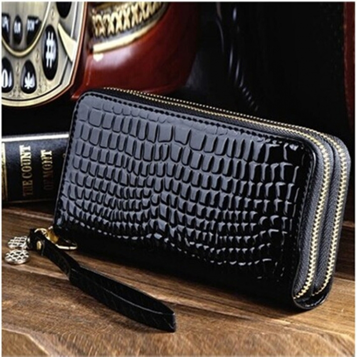 Ms High Capacity Long Section Wallet Patent Lleather Small Change Mobile Phone Hand Bag black one size