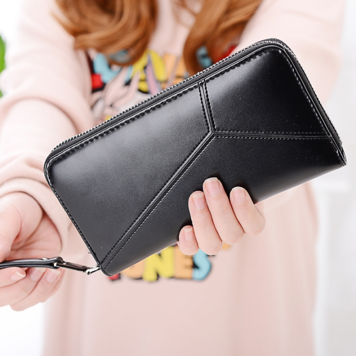 Ms Long Section Wallet Multi-card Bit Simple Fashion Holding Hands Wallet black one size